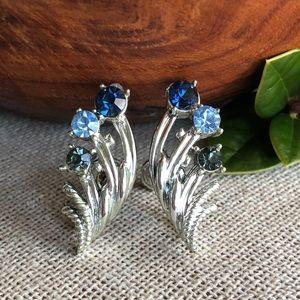 Vintage Blue Rhinestones Silver Screw Earrings